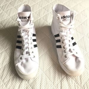 Adidas White Canvas Lace Up High Top Sneakers